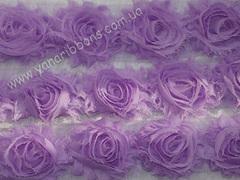 Шифоновые шебби-розы сиреневые  диаметр 6 см