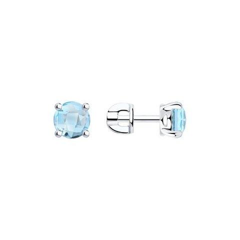 92021130 - Серьги пусеты из серебра с  голубыми топазами