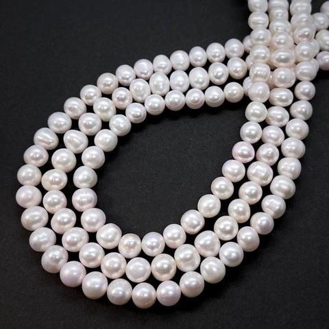 Жемчуг бело-розовый А натуральный шар 8 мм
