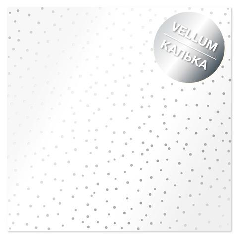 Лист кальки (веллум) с фольгированием Silver Drops 30,5х30,5 см