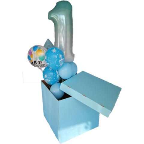 Коробка д/надутых шар 70х70х70см голубая