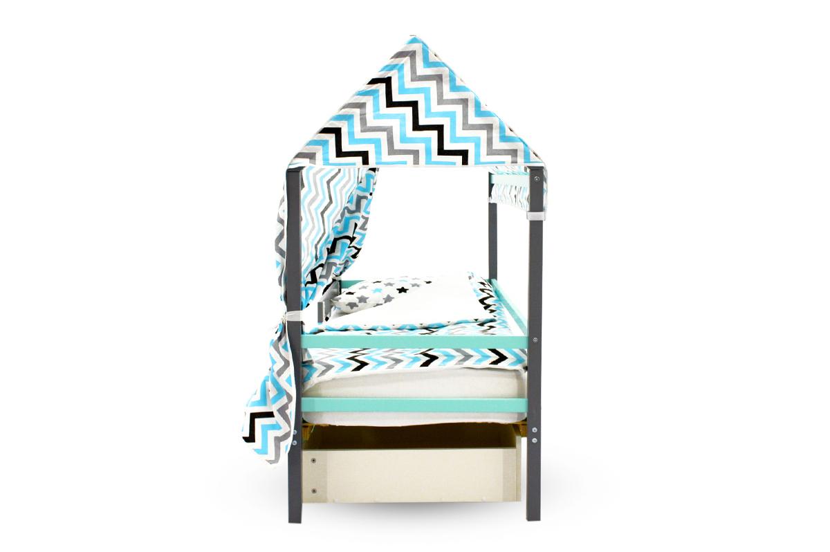 """Крыша текстильная для кровати-домика Svogen """"зигзаги, графит, бирюза, серый"""""""
