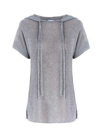 Женский джемпер серебряного цвета с капюшоном - фото 1