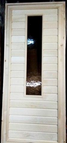 дверь банная осиновая с большим узорчатым стеклом