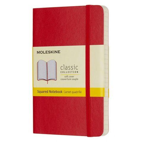Блокнот Moleskine CLASSIC SOFT QP612F2 Pocket 90x140мм 192стр. клетка мягкая обложка красный