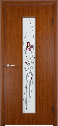 Дверь Верда С-21, стекло Сатинато (Ирис), цвет макоре, остекленная