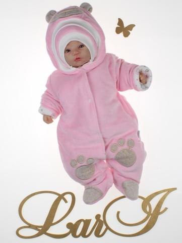 Утепленный велюровый комбинезон Панда лапки (розовый)