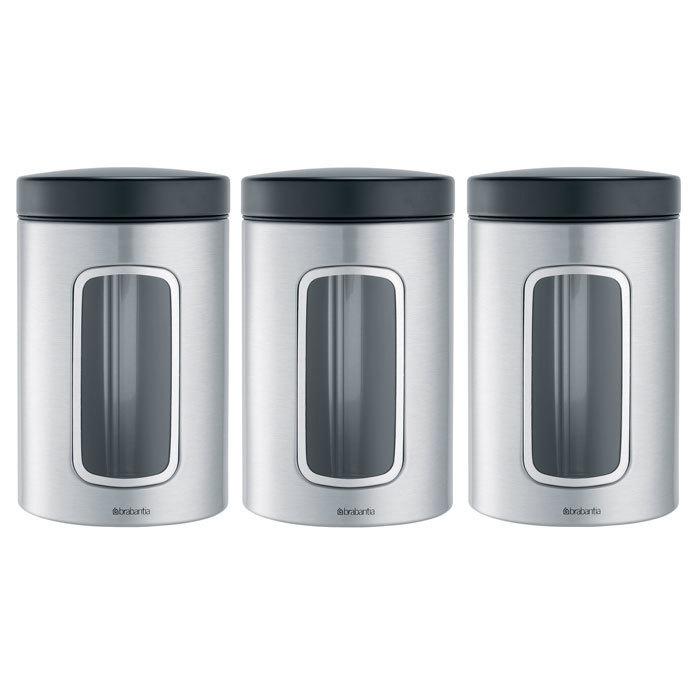 Набор контейнеров для сыпучих продуктов с окном (1,4 л), 3 шт., Стальной матовый (FPP), арт. 335341 - фото 1