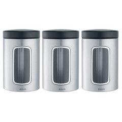 Набор контейнеров для сыпучих продуктов с окном (1,4 л), 3 шт., Стальной матовый (FPP)