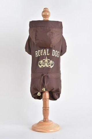 Royal Dog Дождевик флисовый с надписью коричневый размер M