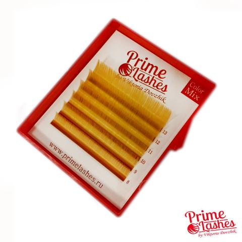 Ресницы Prime Lashes золотые, микс 6 линий