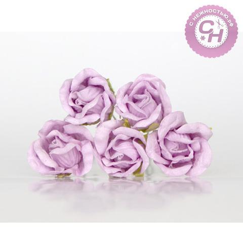 Роза из бумаги премиум, на проволоке, высота 2 см, диаметр 2 см, 5 шт.