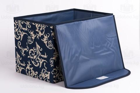 Средний складной кофр для одежды, 38*25*25 см (темно-синий с узорами)