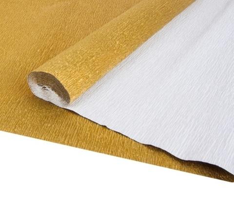Бумага гофрированная металл, цвет 911 золотой, 140г, 50х250 см, Cartotecnica Rossi (Италия)