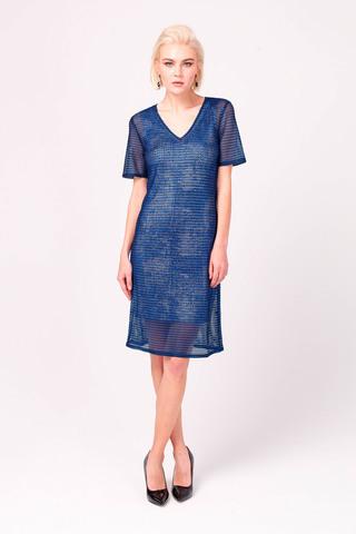 Фото синее платье мини с глиттерным напылением прямого силуэта - Платье З346а-279 (1)