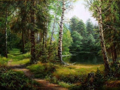 Картина раскраска по номерам 40x50 Тропинка у озера в лесу