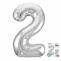 Р Цифра, 2, Slim, Серебро, в упаковке 40''/102 см,  1 шт.