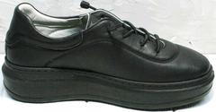 Модные черные кроссовки кеды на высокой подошве женские Rozen M-520 All Black.