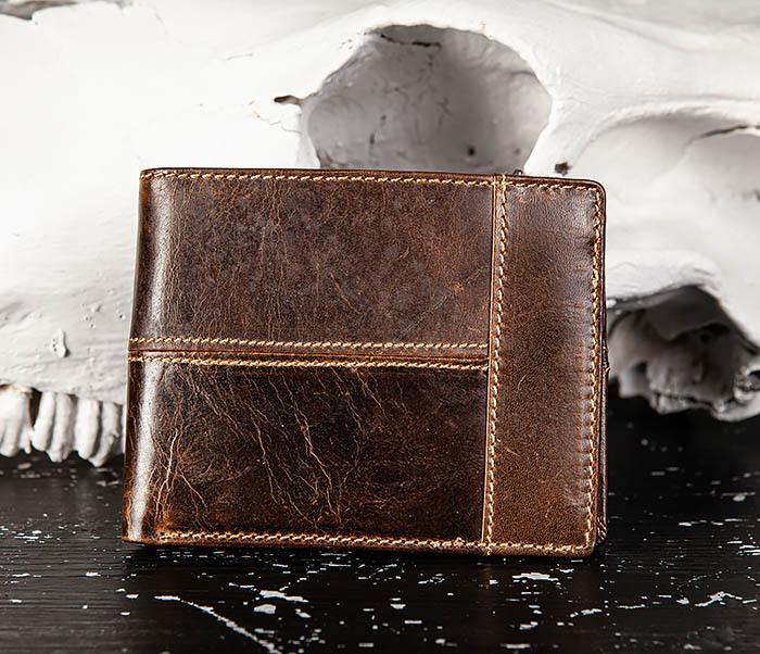 WL329-2 Вместительное мужское кожаное портмоне с монетницей