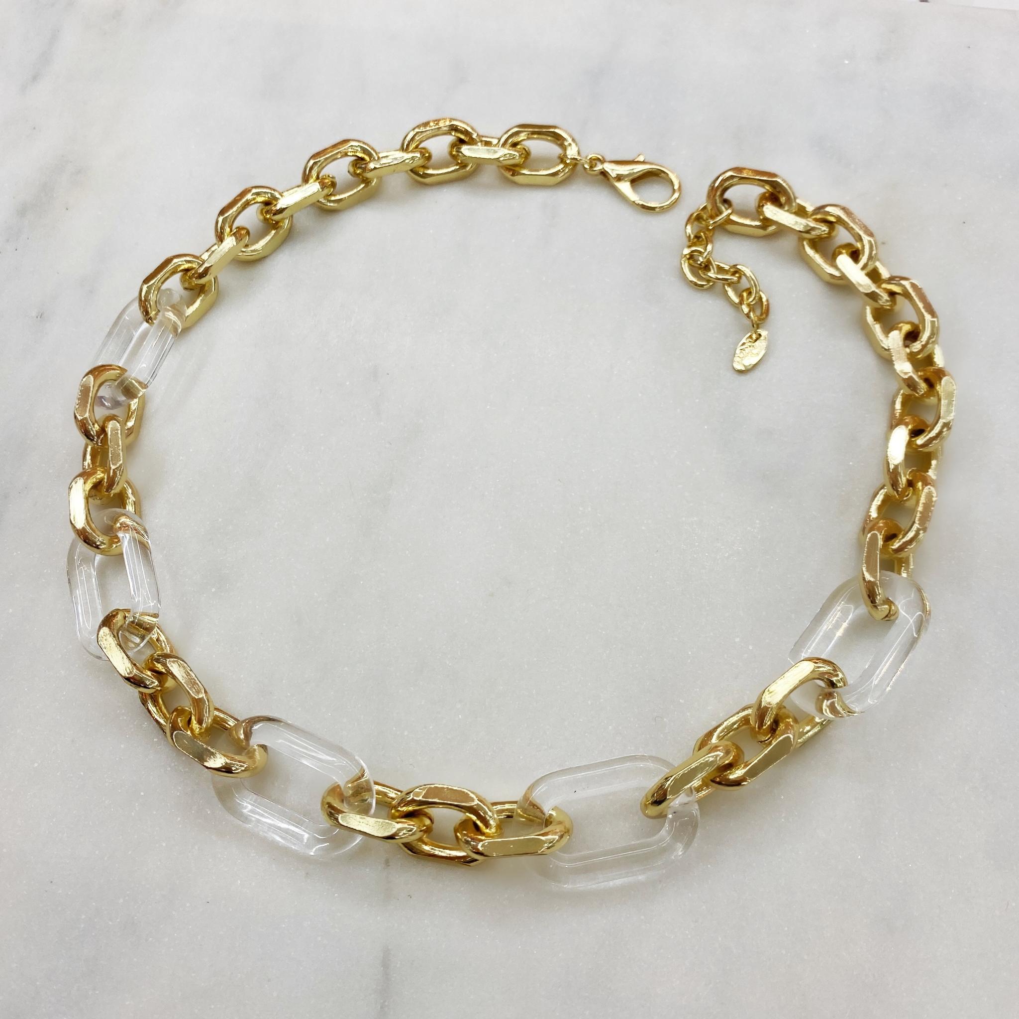 Колье-цепь с комбинированными звеньями (прозрачный, золотистый)
