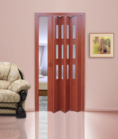 Дверь гармошка с витражами, цвет вишня