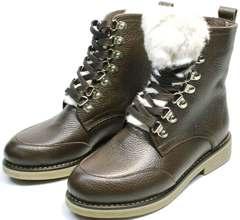 Женские зимние ботинки на натуральном меху Studio27 576c Broun.