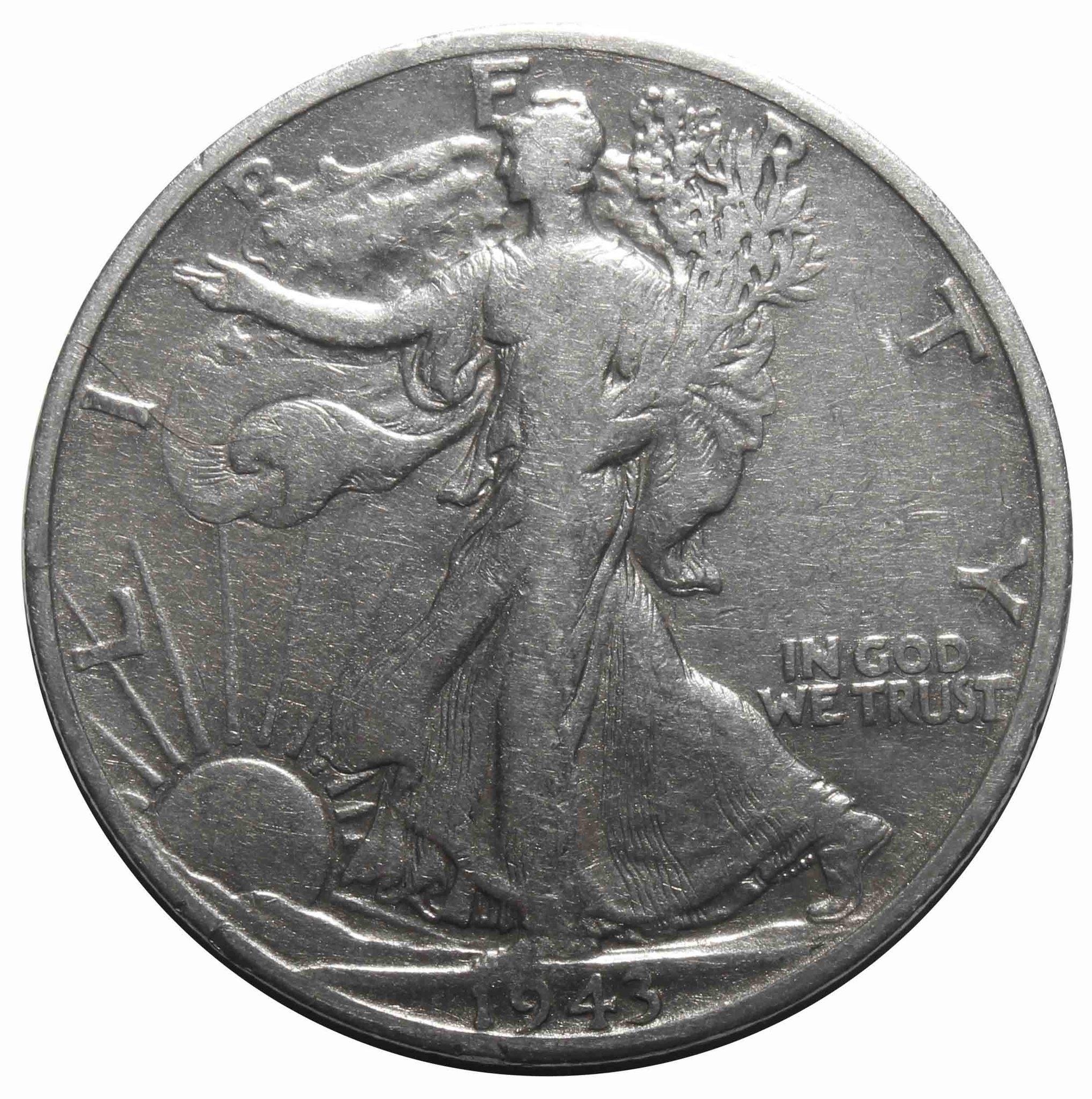 1/2 доллара. Шагающая Cвобода. (D) США. 1943 год. F-VF