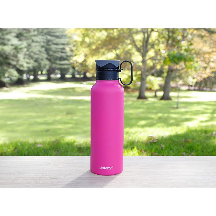 "Термобутылка Sistema ""Hydrate"" с петелькой 600 мл, цвет Розовый"