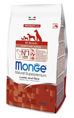 купить сухой корм Monge Speciality Line Mini Puppy&Junior All Breeds Lamb, Rice and Potatoes для щенков всех пород с ягненком, рисом и картофелем