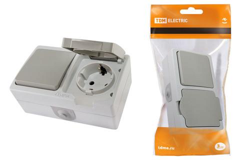 Блок комбинированный (горизонтальный) выключатель 1-кл. + розетка 2П+З с з/ш БКВР IP54