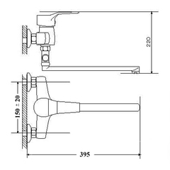 Размеры смесителя для ванной Zegor EDN-A
