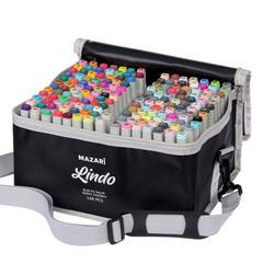 Mazari Lindo набор маркеров для скетчинга 168 шт двусторонние спиртовые кисть/долото 1.0-6.2 мм (вкл. блендер)