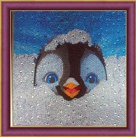 Алмазная Мозаика 30x30 Пингвин выглядывает из снега (арт. AC816 )