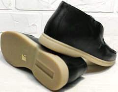 Черные кожаные лоферы полуботинки женские весна осень Rozen 6023+1 «Loro Piana».