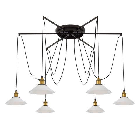 Люстра Паук 6 плафонов белое стекло/бронза Citilux Эдисон
