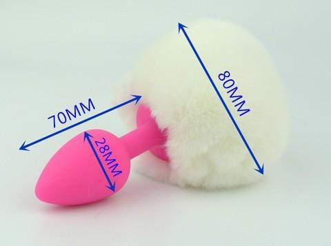 Пробка силиконовая с белым хвостом Задорный Кролик 47188-MM