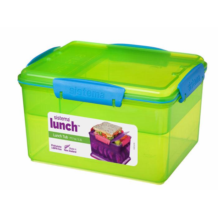 """Ланч-бокс Sistema """"Lunch"""", 4 секции, 2,3 л, цвет Зеленый"""