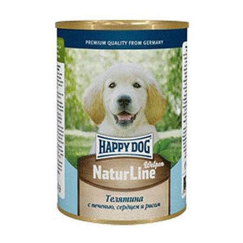 HAPPY DOG Консервы для щенков с телятиной, печенью, сердцем и рисом 8000 г. (400г.*20)
