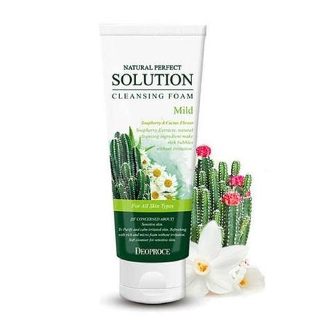 Deoproce Natural Perfect Solution Cleansing Foam Mild мягкая пенка с экстрактами кактуса, ромашки и алоэ вера для чувствительной кожи