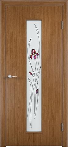 Дверь Верда С-21, стекло Сатинато (Ирис), цвет орех, остекленная