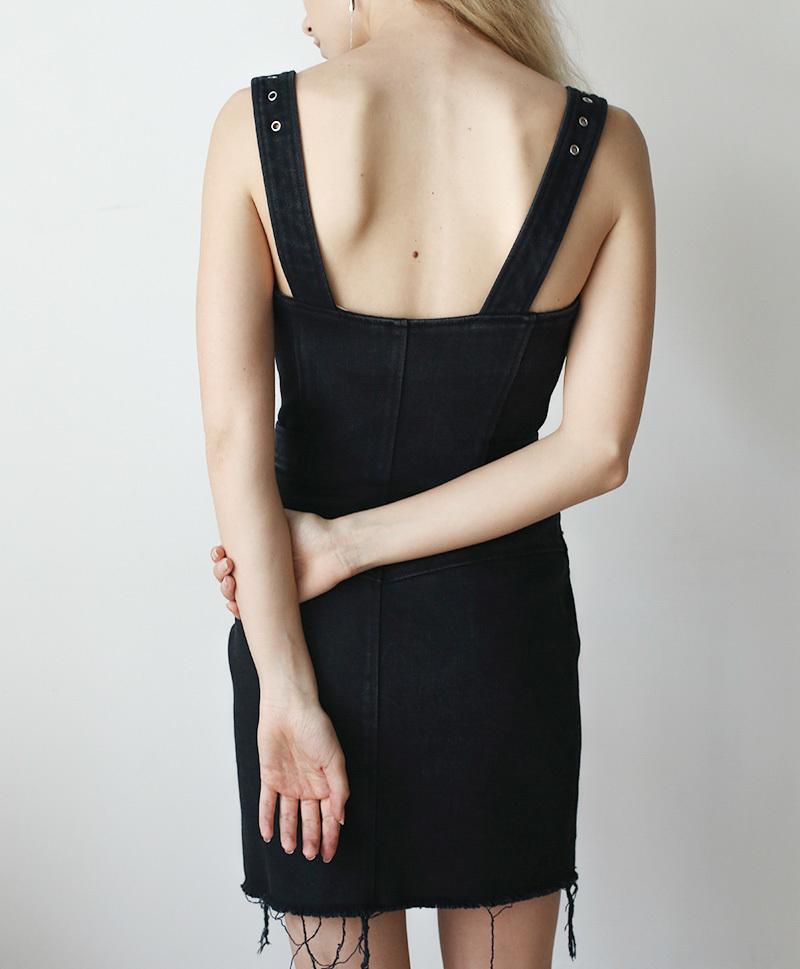 Платье-косуха черный хлопок