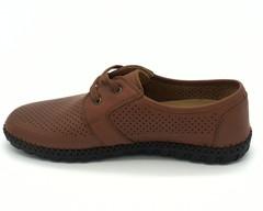 Коричневые кожаные полуботинки с перфорацией на шнуровке