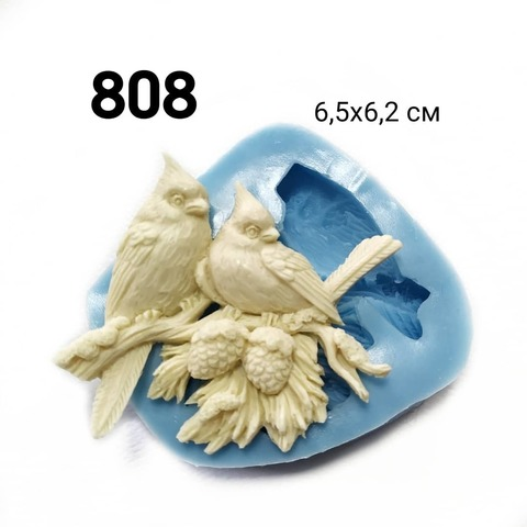 Молд Птички на елке 6,5х6,2см, Арт.PO-0808, силикон