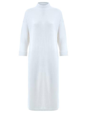 Женское платье молочного цвета из 100% шерсти - фото 1
