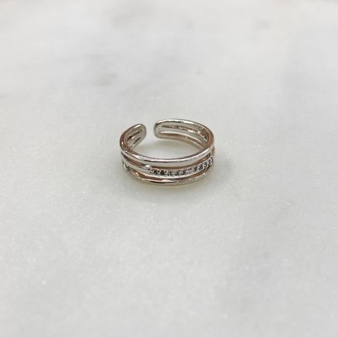 Кольцо на фалангу трехрядное с цирконами (серебристый)