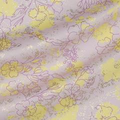 Тонкий хлопок с жёлтыми цветами на розовом и металлизированным принтом