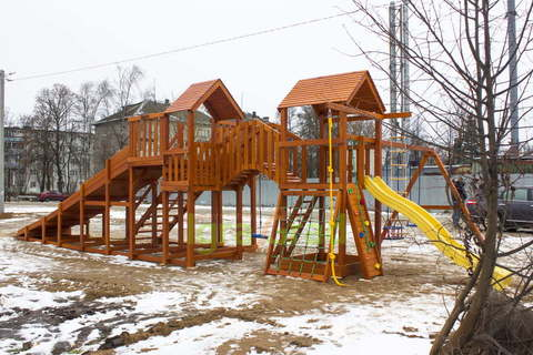 Детская деревянная зимняя горка Snow Fox 5,9 м +