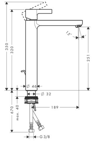 Смеситель для раковины высокий Hansgrohe Metris S, Highriser,  31022000 схема