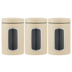Набор контейнеров для сыпучих продуктов с окном (1,4 л), 3 шт., Миндальный