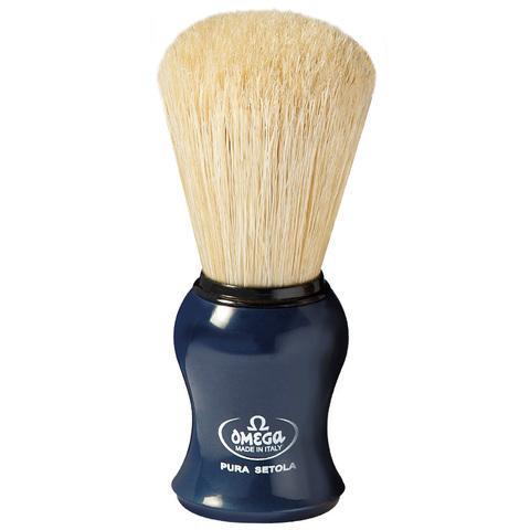 Помазок для бритья omega синий натуральный кабан 10065